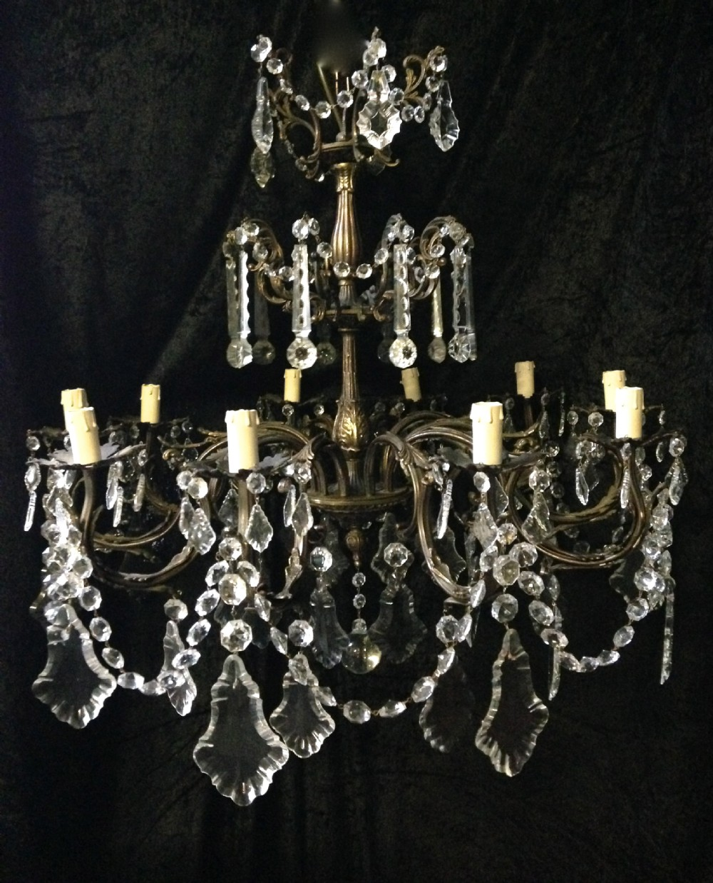a pair of french antique chandeliers