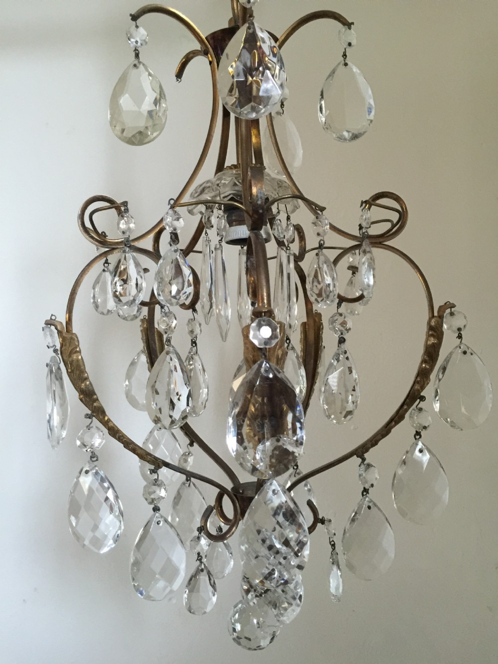 Small Antique Italian One Light Chandelier