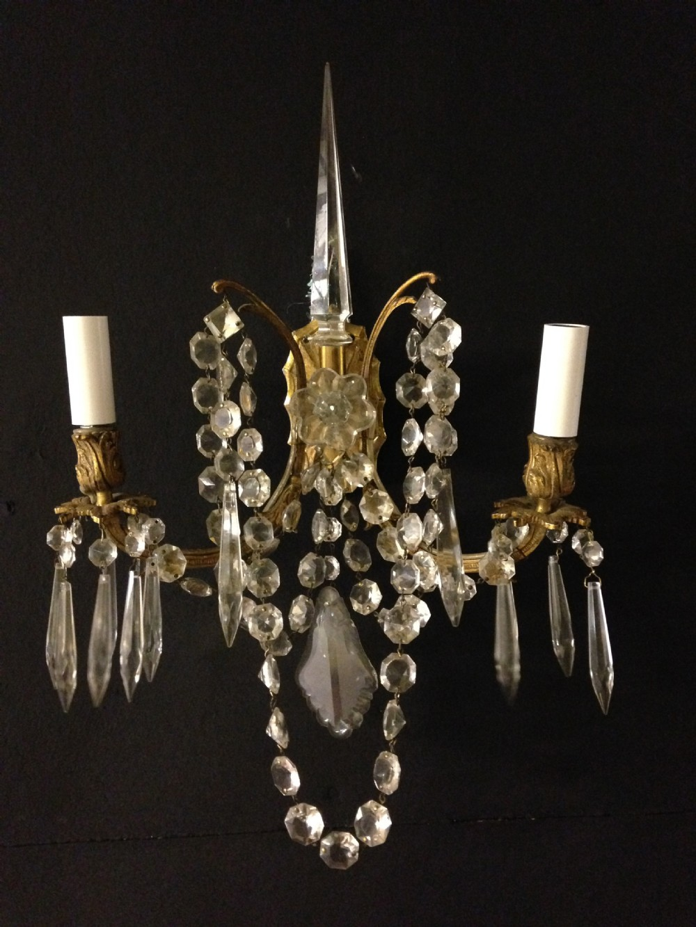 pair of english antique walllights
