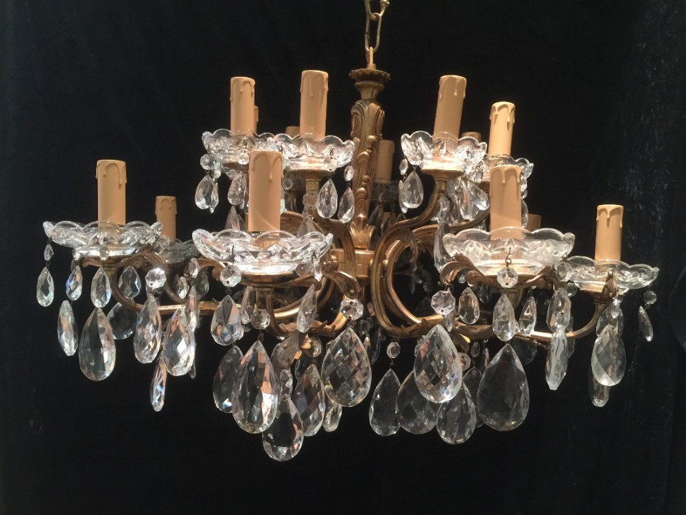 antique italian brass and crystal chandelier