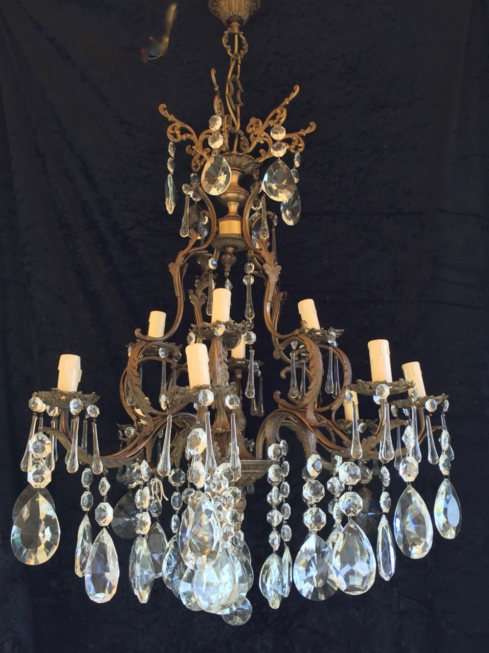 french antique dark framed two tier chandelier