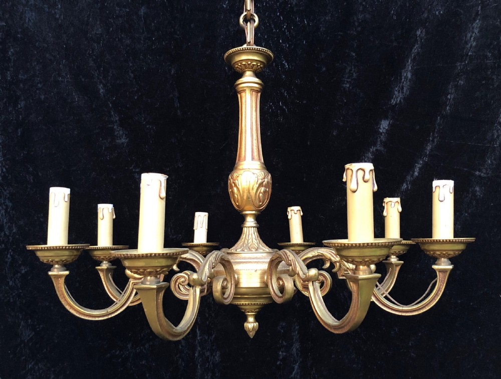 french 8 light antique brass chandelier