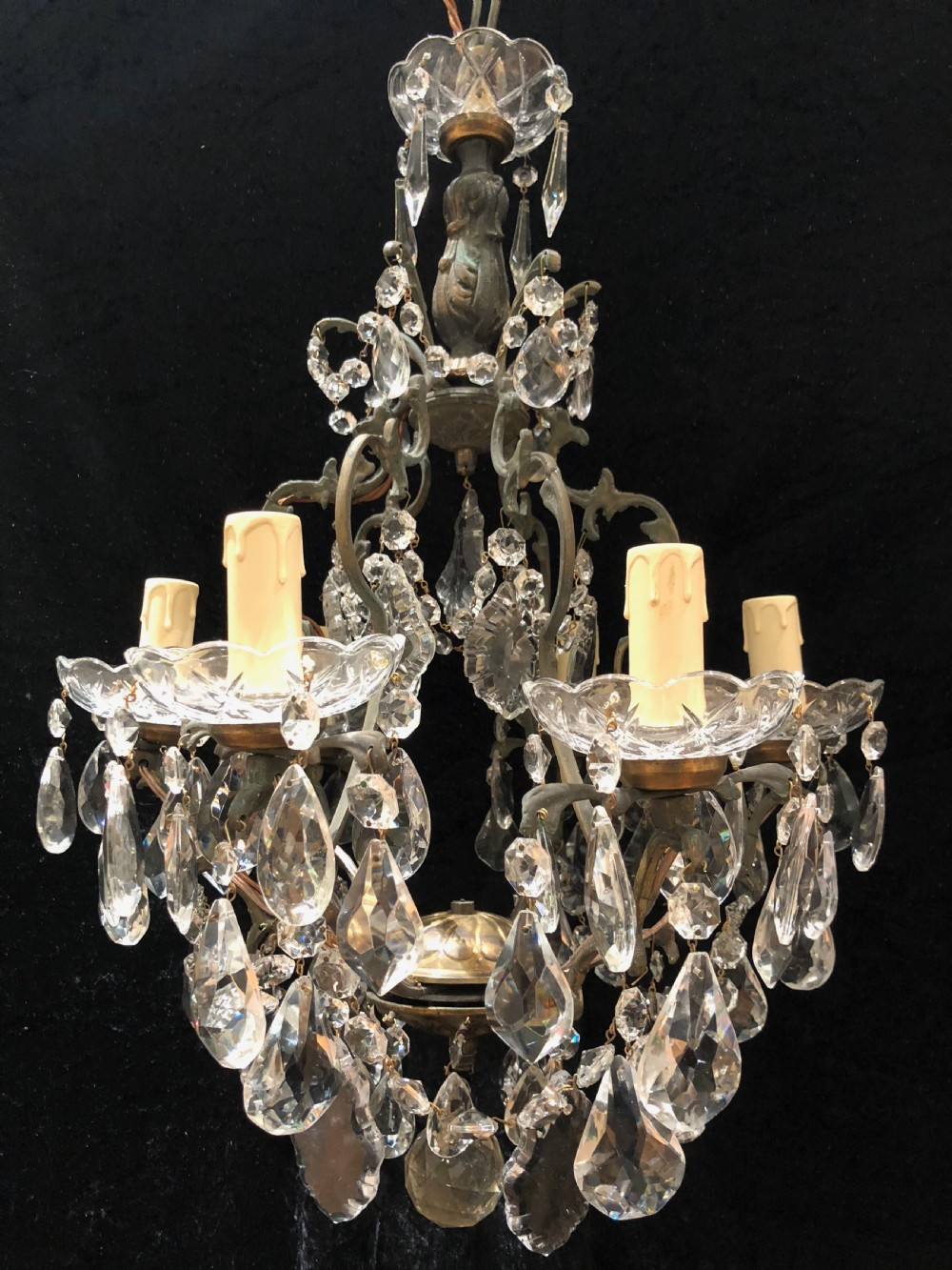 french six light cage antique chandelier