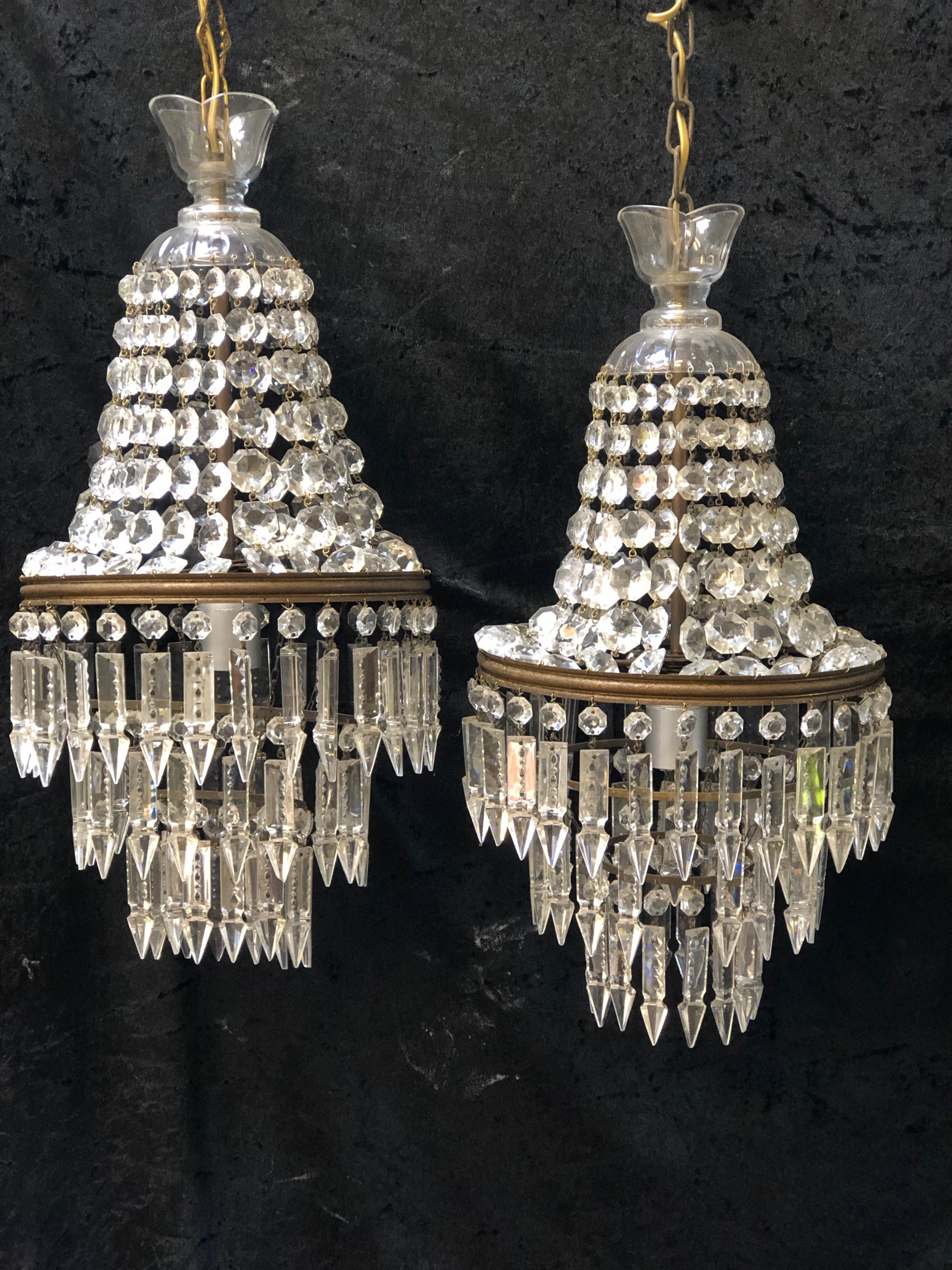 a pair of french empire waterfall antique chandeliers