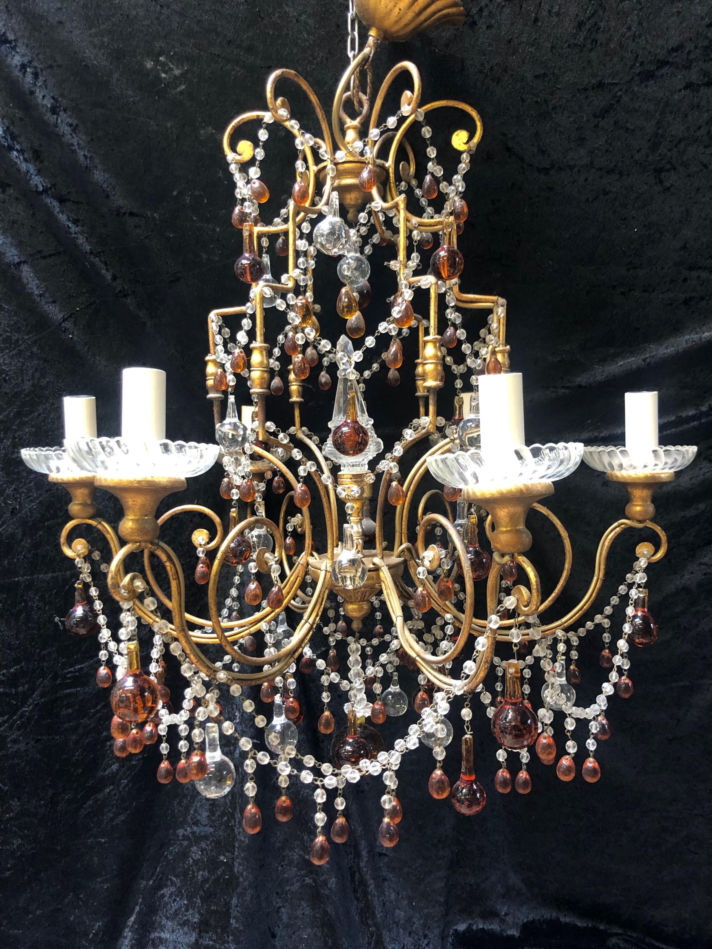 a wonderful gilt florentine six light florentine antique chandelier