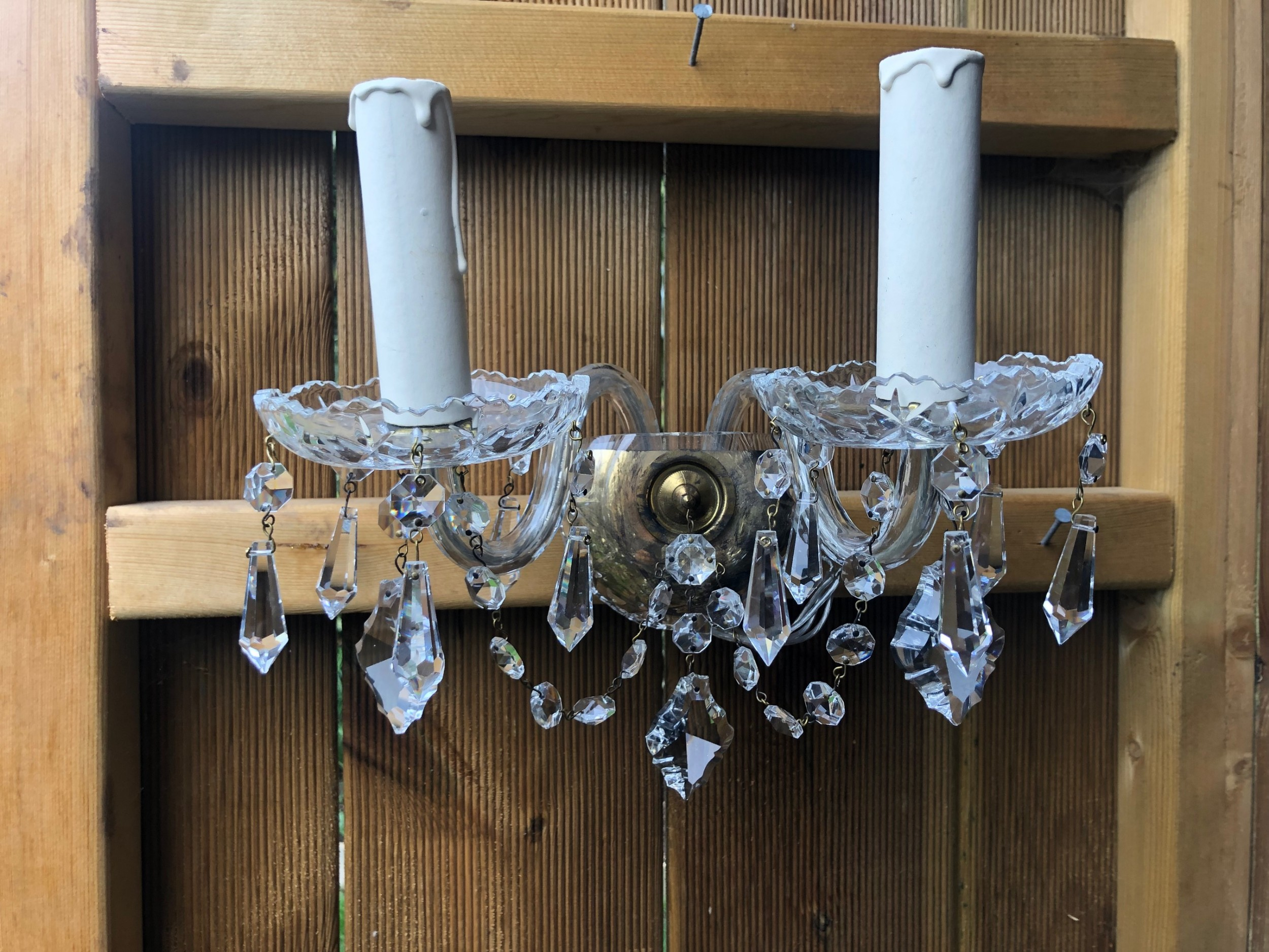 a pair of english all glass two light walllights