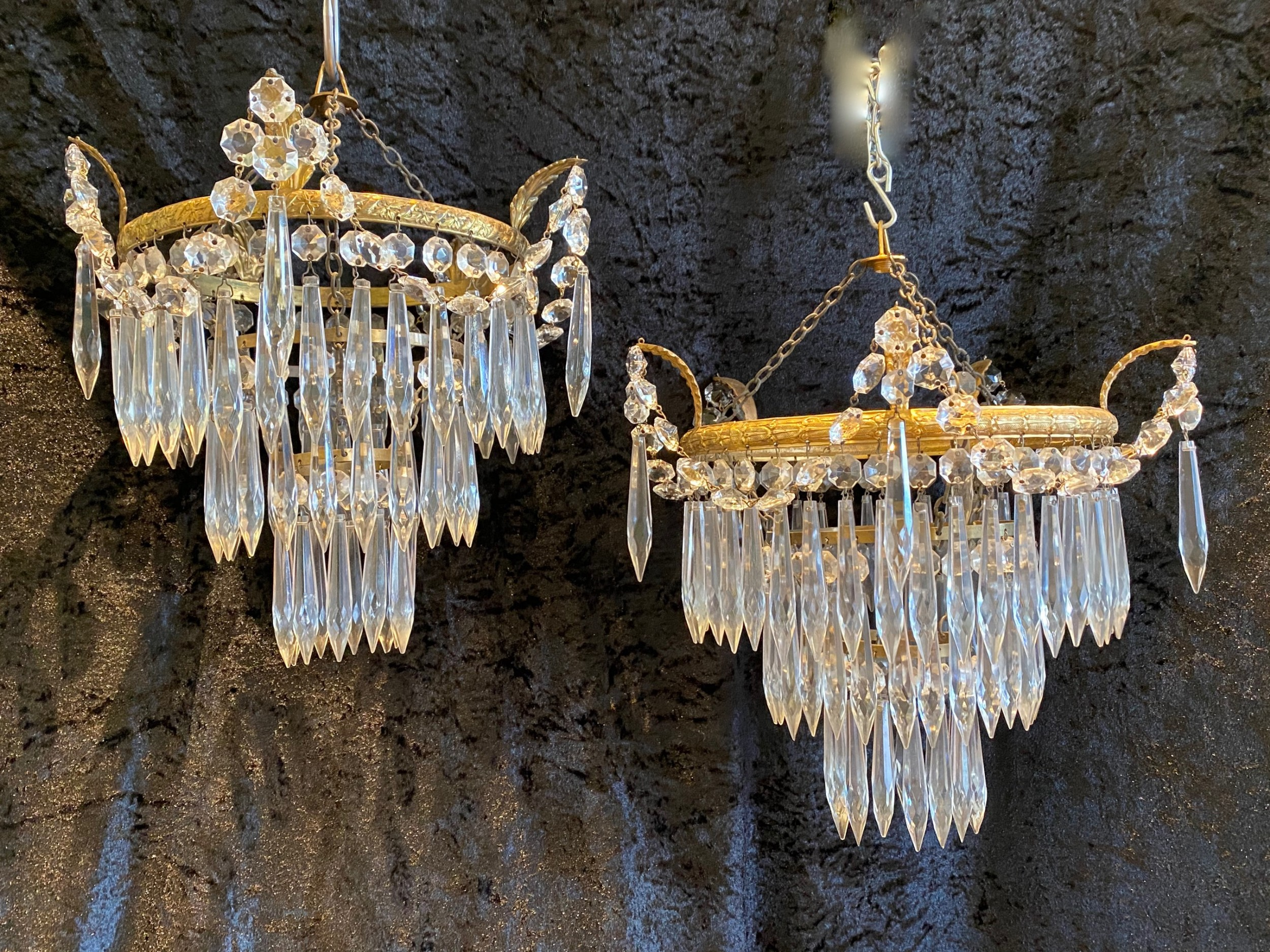 a near pair of english waterfall chandeliers