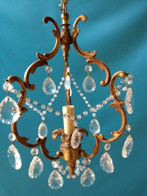 small italian one light cage chandelier