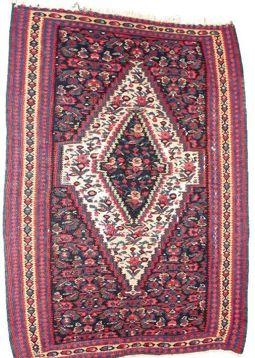 antique persian senha kelim rug circa 1900