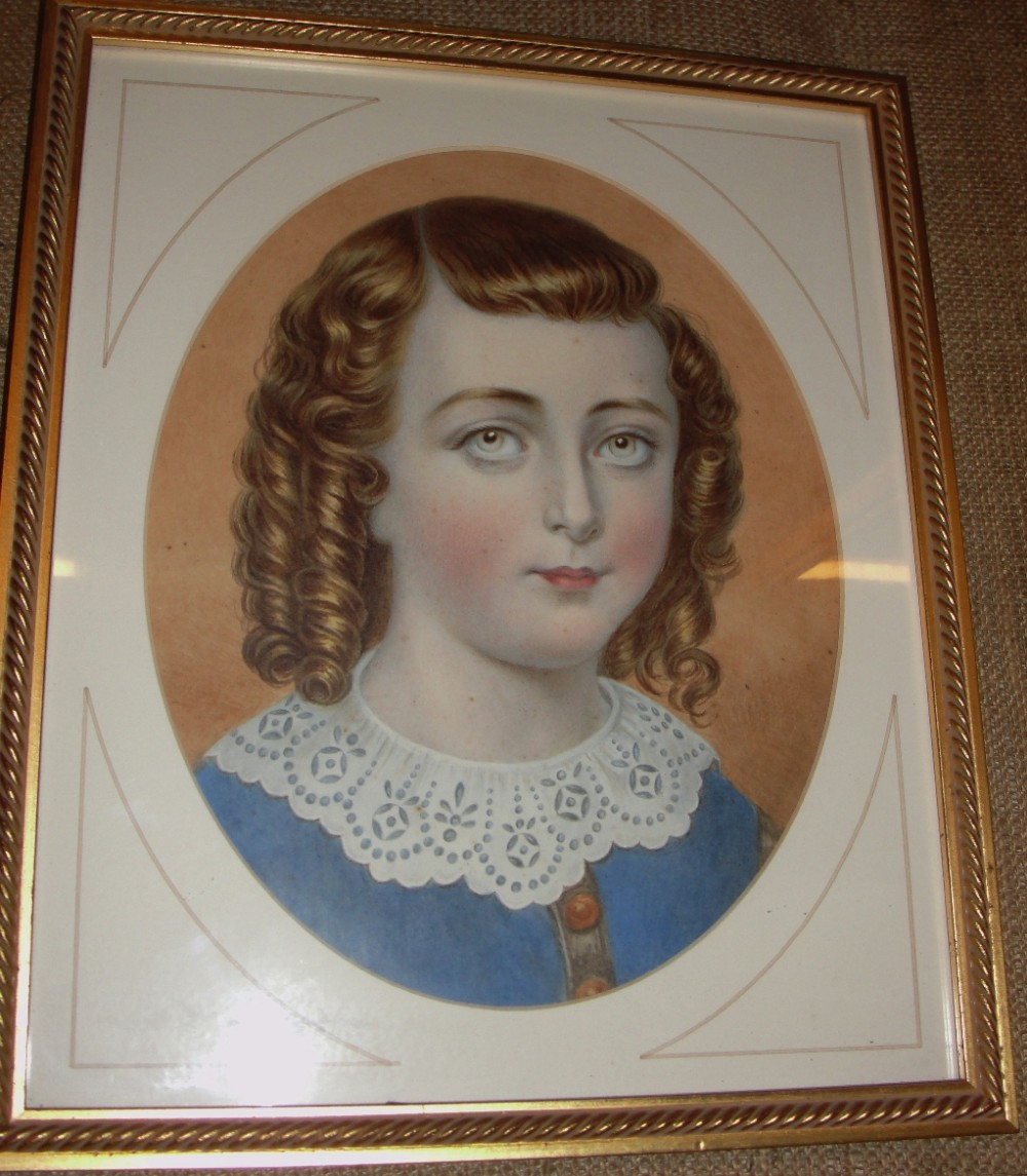 watercolour portrait young lady dated 1840