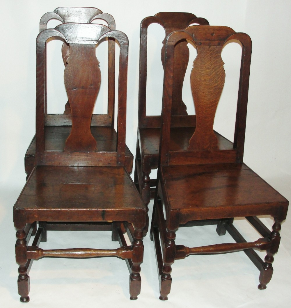 Fantastic Set 4 Queen Anne Oak Dining Chairs Circa 1710 443394 Dailytribune Chair Design For Home Dailytribuneorg