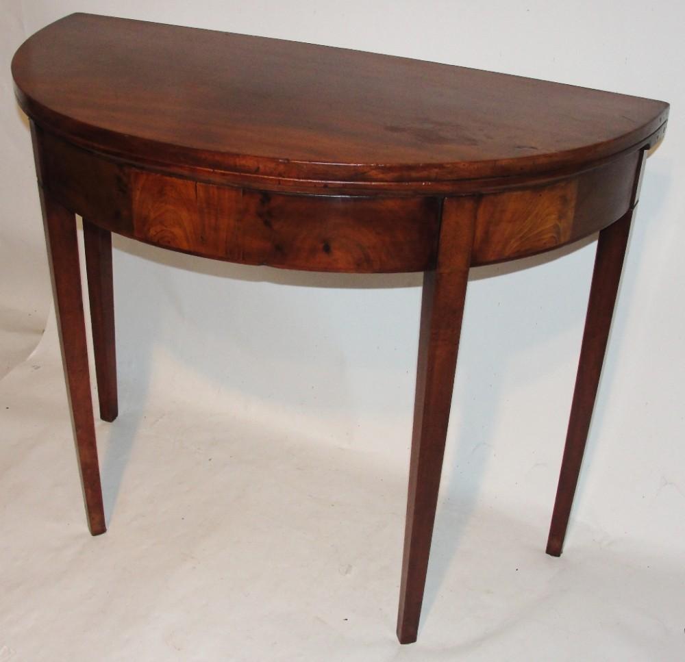 Georgian mahogany half round card table circa 1800