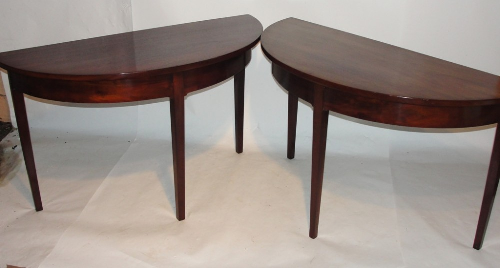 pair georgian half round side tables circa 1800