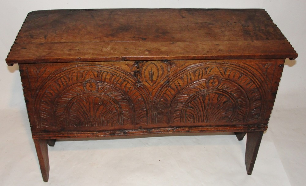 early oak carved gun chest circa 1670