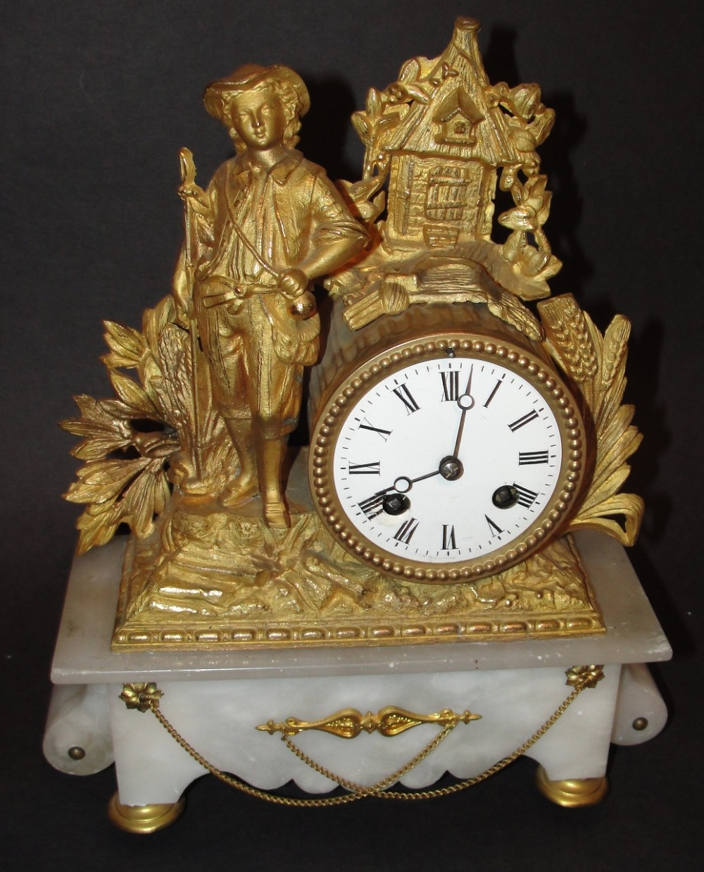 french 19th century alabaster and ormolu mantle clock circa 1860