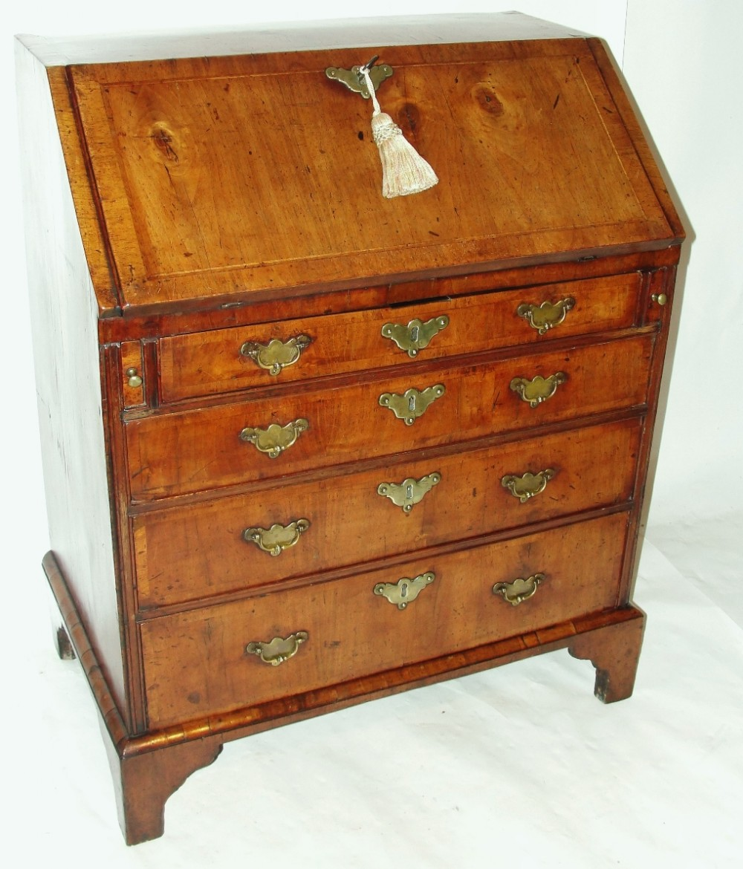 small george ii walnut bureau circa 1740