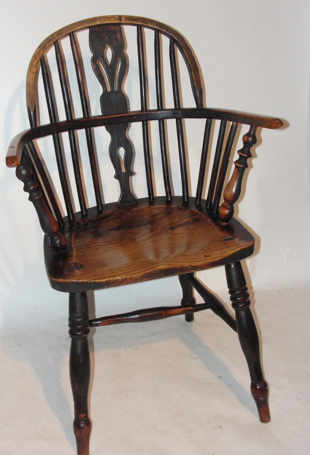 georgian elm windsor elbow chair circa 1780