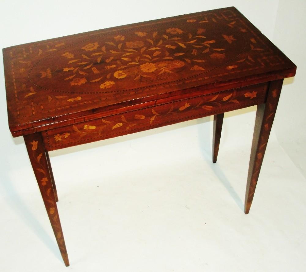 dutch mahogany marquetry games table circa 1810