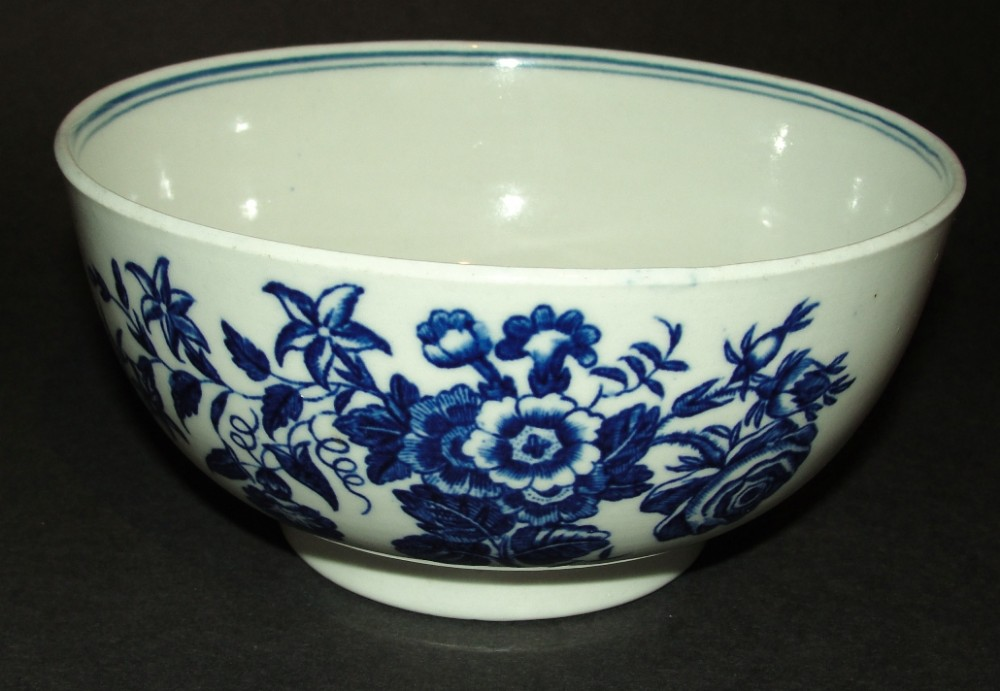18th century worcester blue and white bowl circa 1780