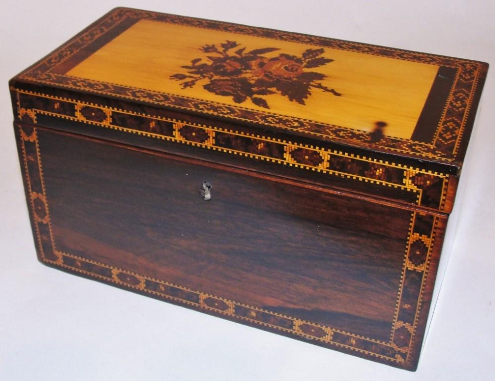 regency rosewood tonbridge tea caddy circa 1825