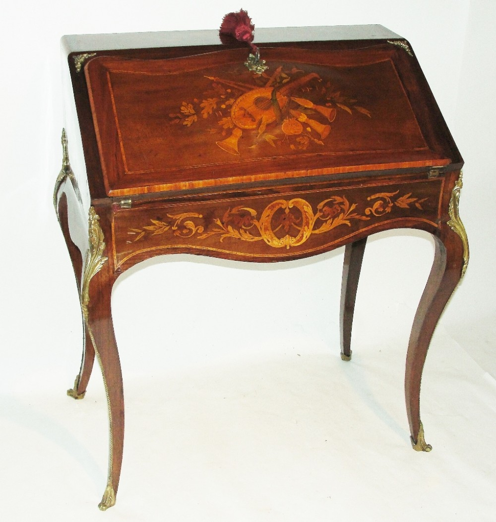 french inlaid rosewood bureau de dame dated 1868