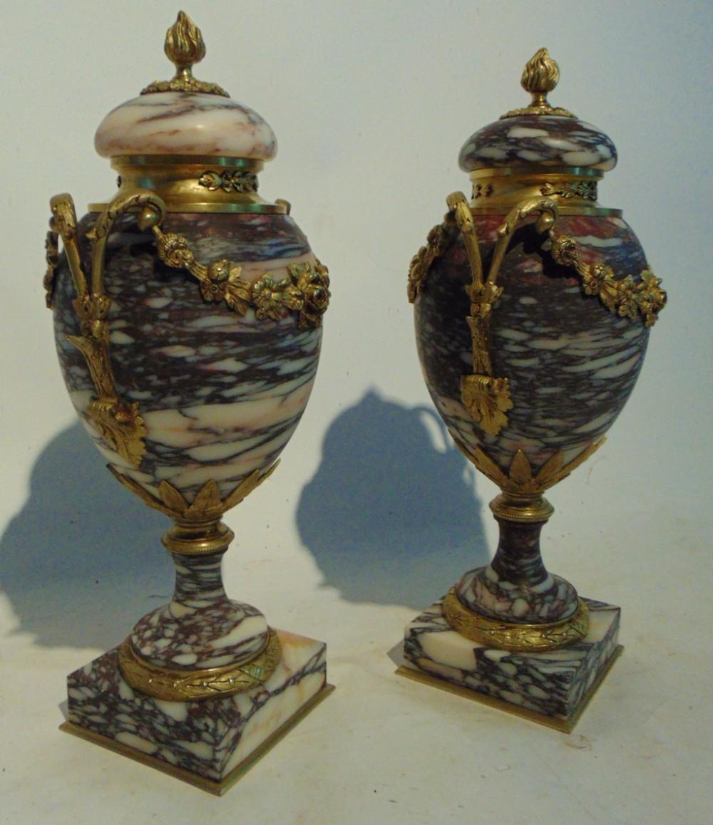 pair victorian marble ormolu cassoulets circa 1860