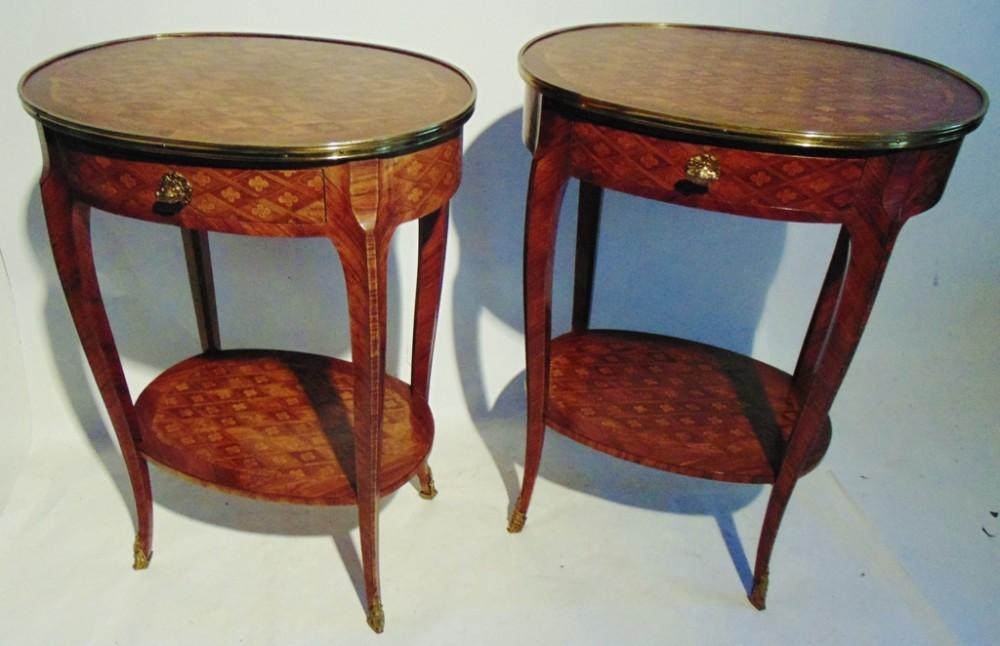 pair victorian inlaid kingwood tables circa 1870