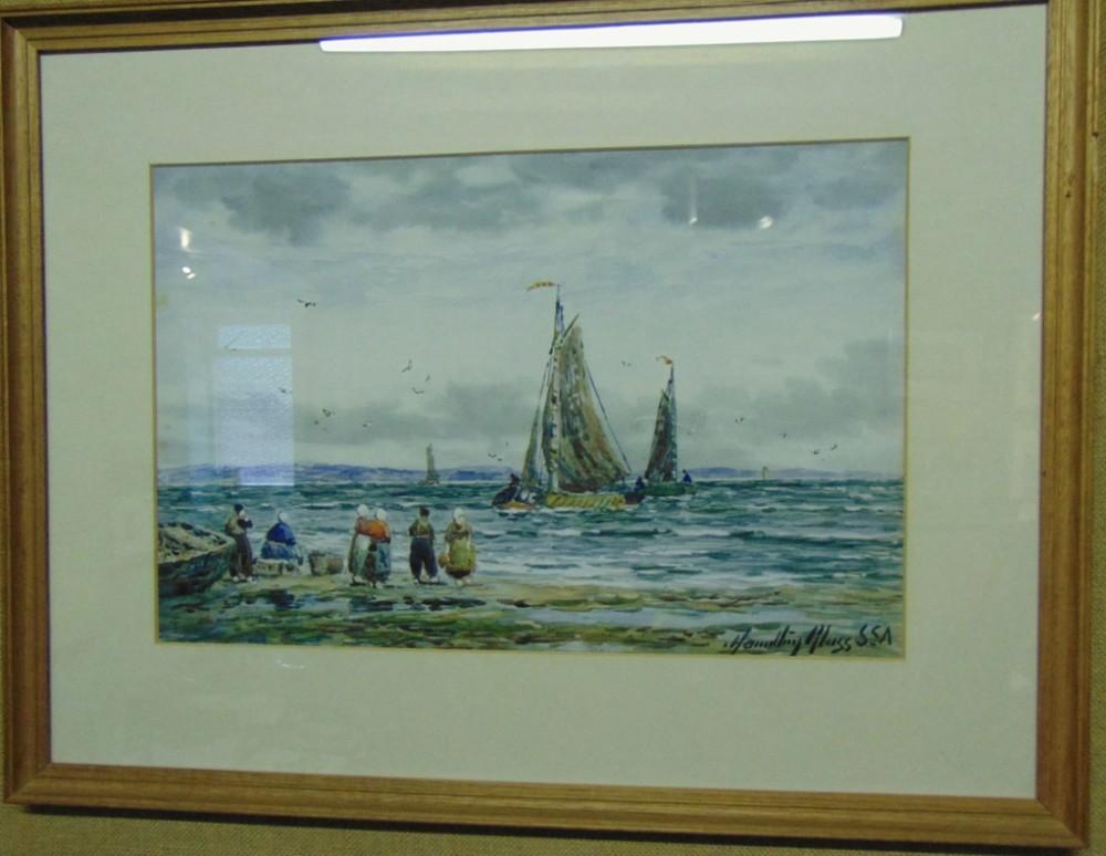 watercolour fishing boats by hamilton glass circa 1920
