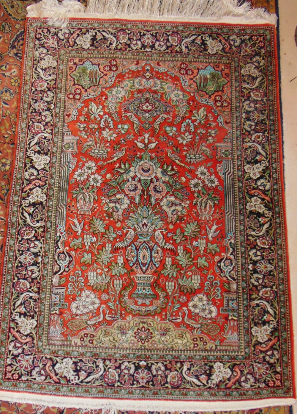 persian quum all silk rug circa 1930
