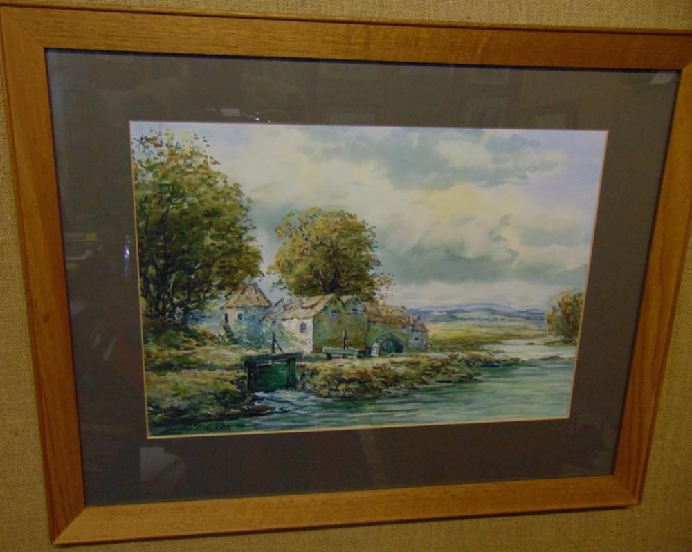 watercolour fife mill bu hamilton glass circa 1910