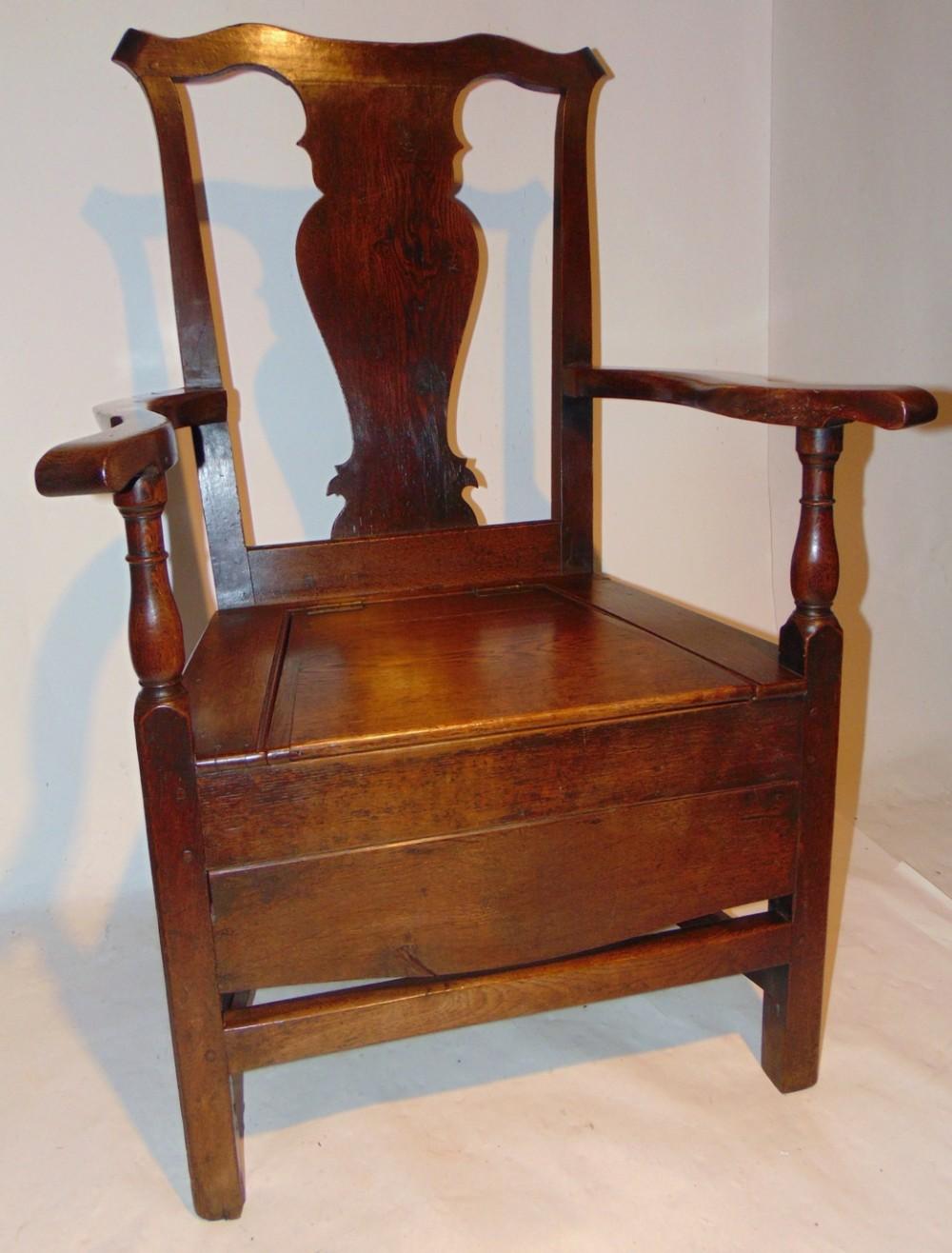 georgian oak box seat elbow chair circa 1775