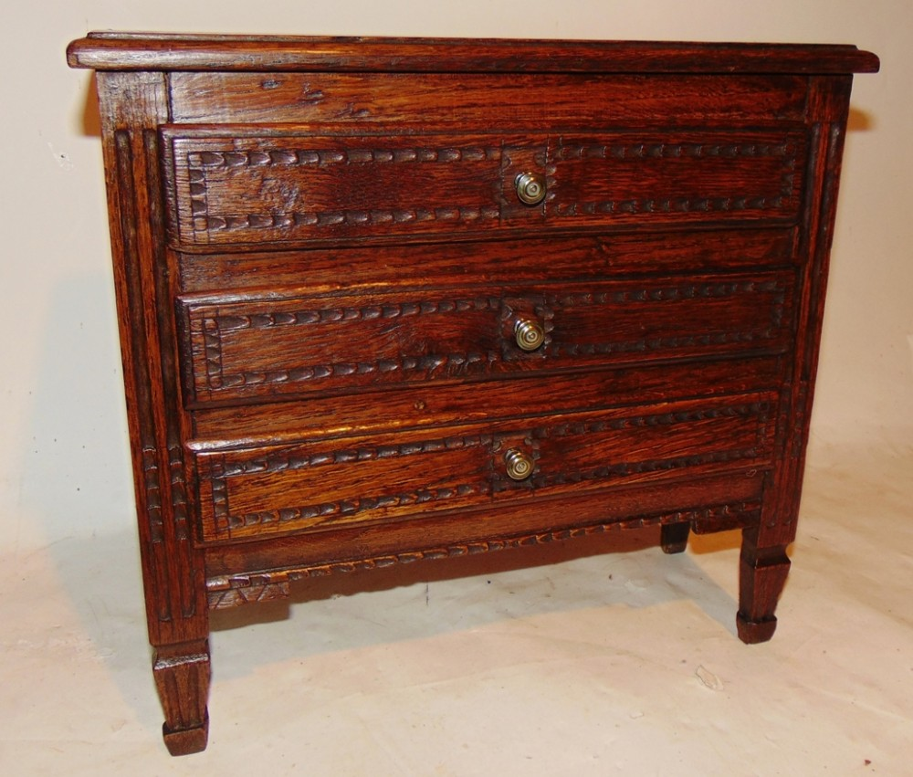 french louis xvi oak miniature chest of drawers circa 1780