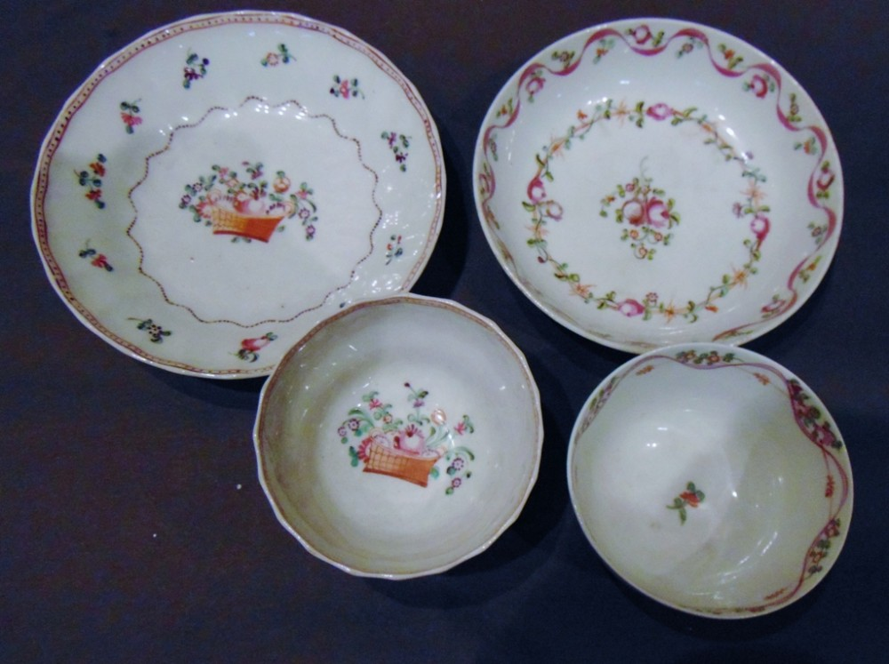 two newhall tea bowls and saucers circa 1780