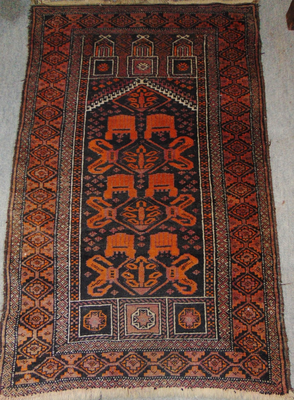 antique persian balouche prayer rug circa 1925