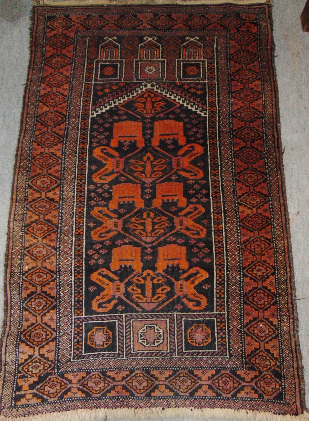 antique persian balouche prayer rug circa 1925