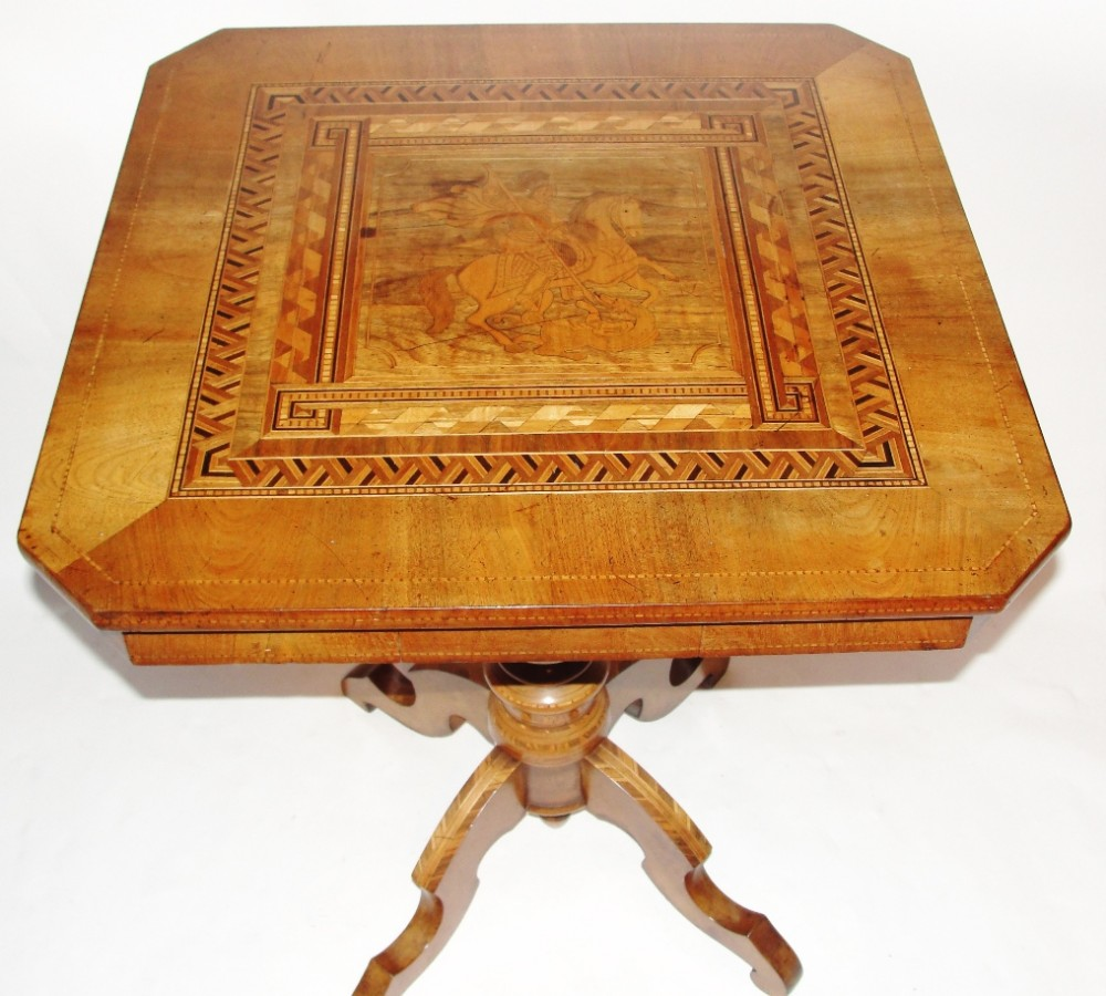 itailian inlaid walnut centre table circa 1870