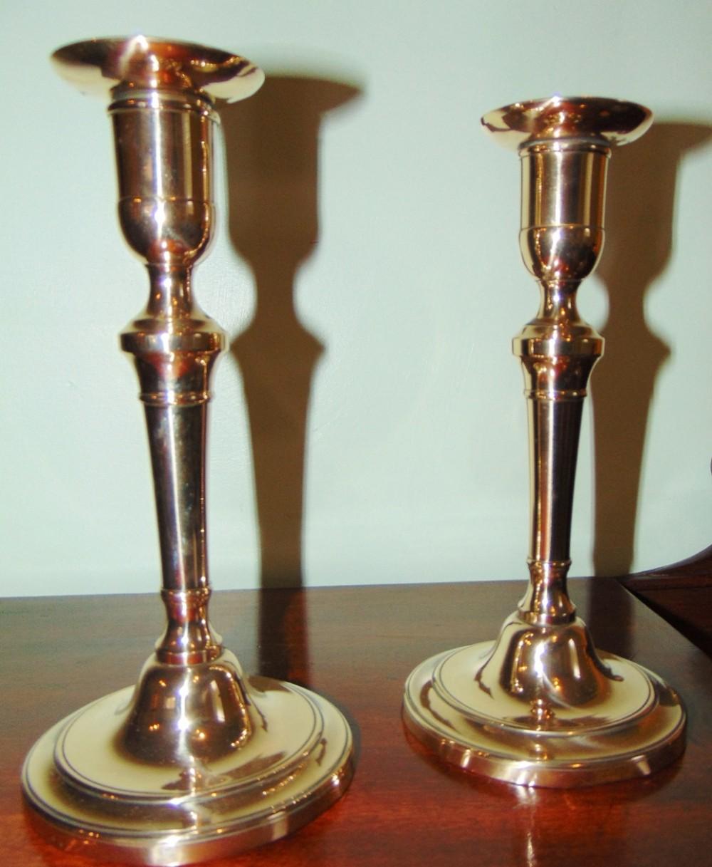 pair georgian brass candlesticks circa 1800