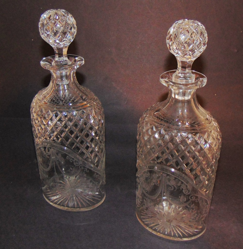 pair victorian cut glass decanters circa 1850