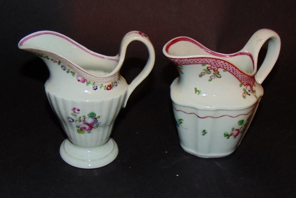 2 x 18th century newhall cream jugs circa 1785