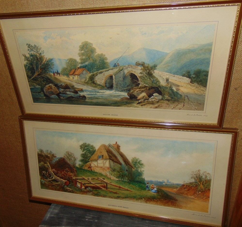 pair watercolours wales dated 1869