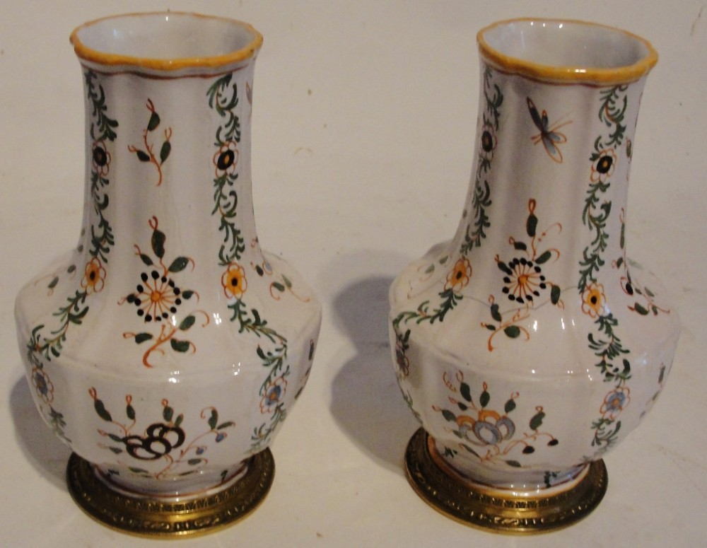 pair french faience moustier vases circa 1770