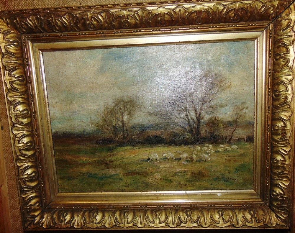 edwardian oil sheep grazing by jcgray circa 1910