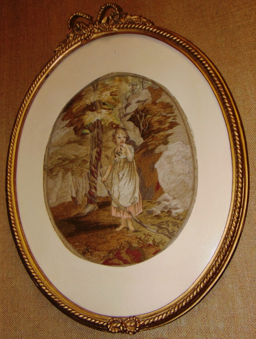 georgian oval silkwork picture circa 1820