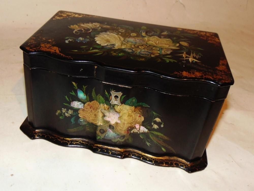 victorian decorated papier mache tea caddy circa 1850