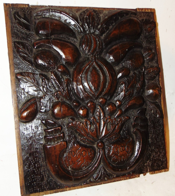 dutch carved walnut panel dated 1760