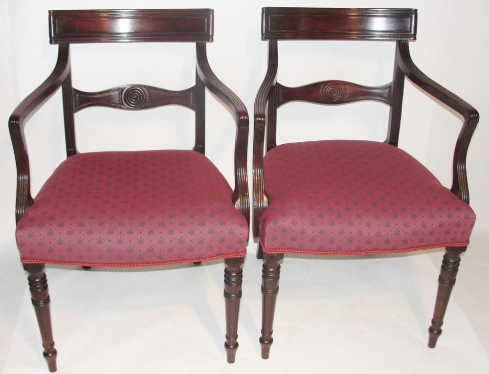 pair georgian mahogany arm chairs circa 1820