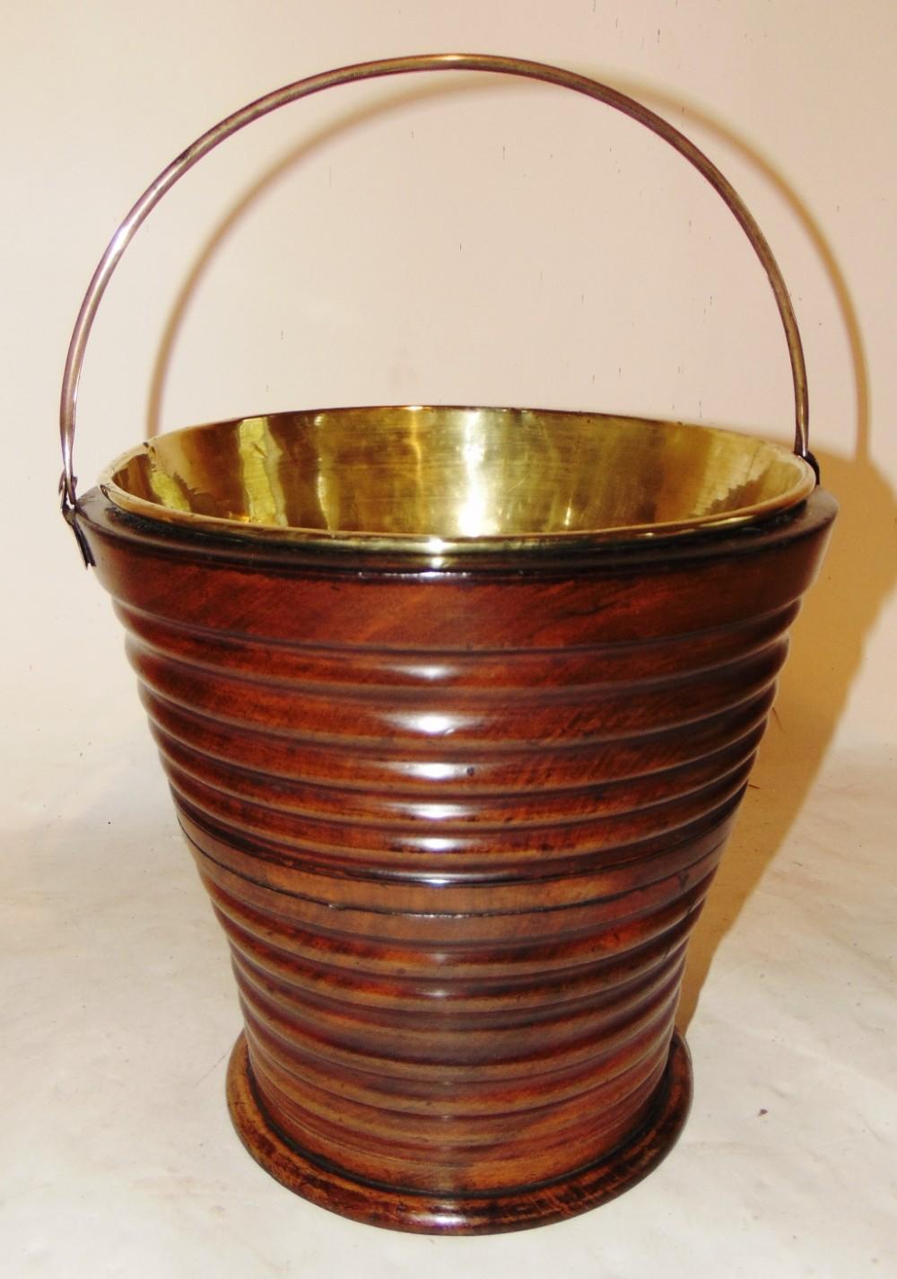 dutch turned mahogany ribbed bucket circa 1790
