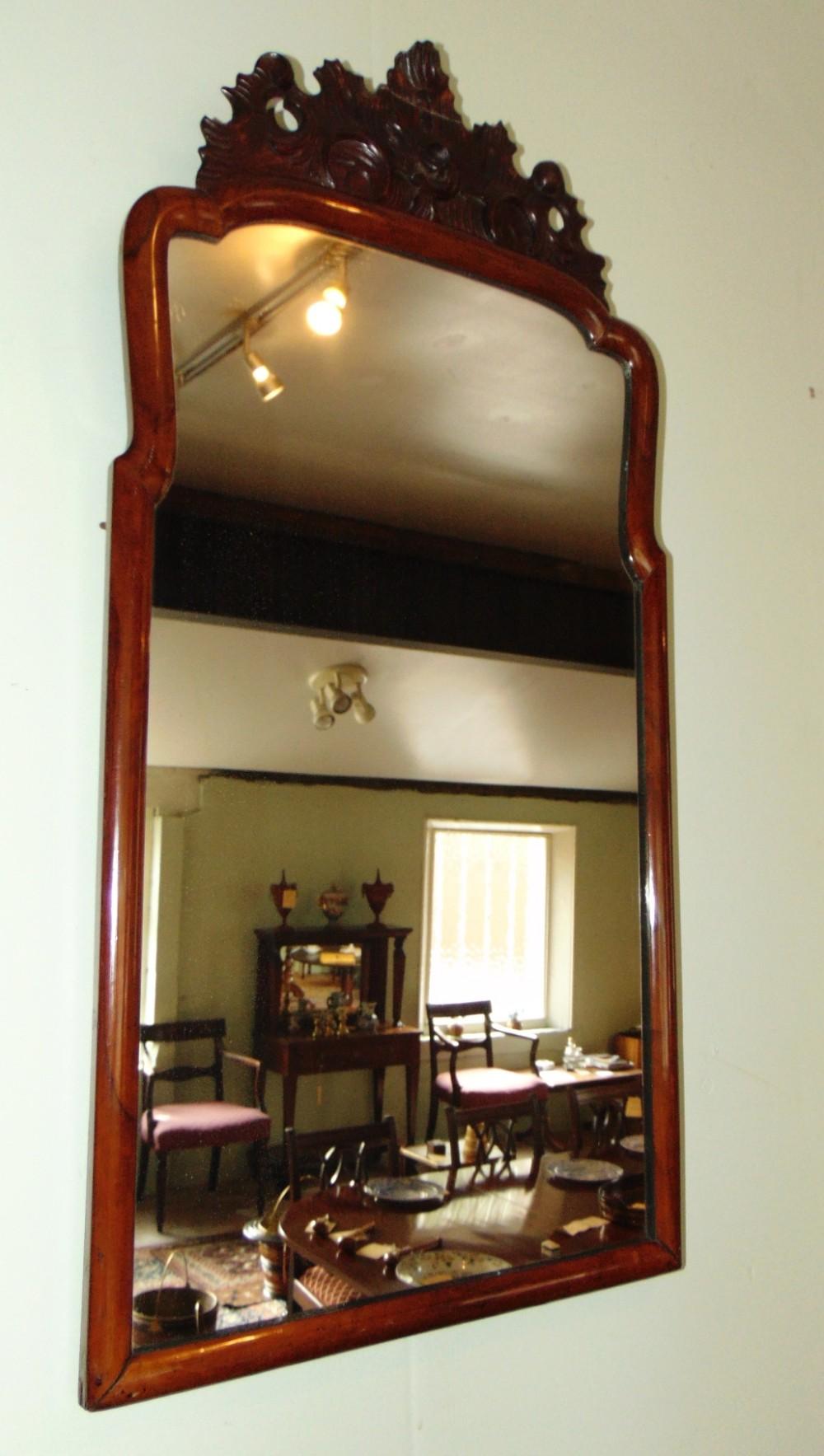 queen anne walnut framed mirror circa 1720