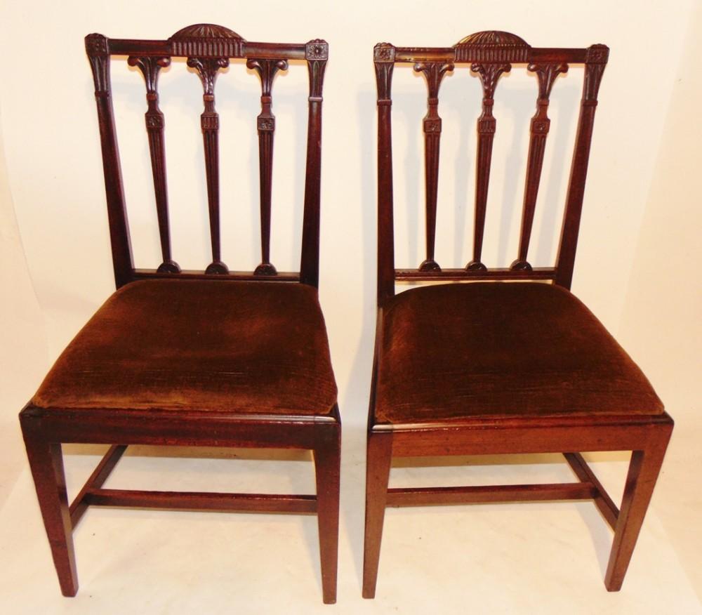 pair georgian carved back chairs circa 1780