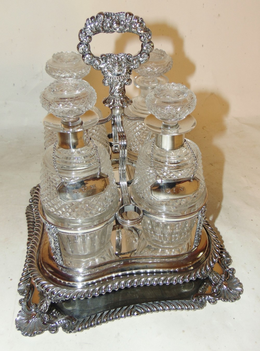 victorian silver plated decanter stand circa 1880